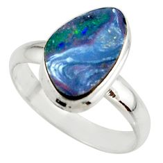 5.24cts blue australian opal (lab) 925 sterling silver ring size 9 r42542
