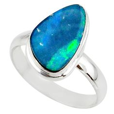 5.28cts blue australian opal (lab) 925 sterling silver ring size 9 r42568