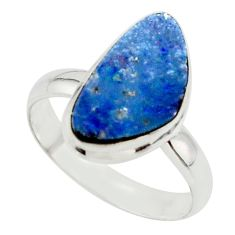 6.01cts blue australian opal (lab) 925 sterling silver ring size 9 r42584