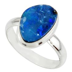 5.12cts blue australian opal (lab) 925 sterling silver ring size 9 r42597