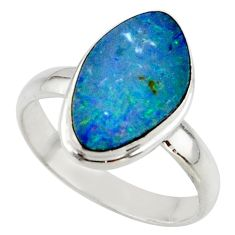 5.26cts blue australian opal (lab) 925 sterling silver ring size 9 r42599