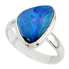 5.19cts blue australian opal (lab) 925 sterling silver ring size 9 r42600