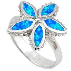 Blue australian opal (lab) enamel 925 silver flower ring size 8 c15845