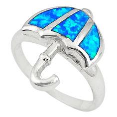 Blue australian opal (lab) enamel 925 silver ring jewelry size 6.5 a72382 c24480