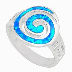 Blue australian opal (lab) enamel 925 silver ring jewelry size 6.5 a73446 c24424