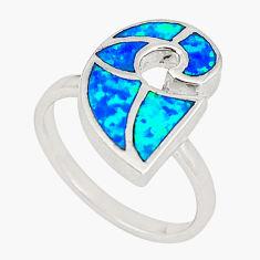 Blue australian opal (lab) enamel 925 silver ring jewelry size 6.5 a73458 c24475