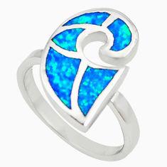 Blue australian opal (lab) enamel 925 silver ring jewelry size 6.5 a73476 c24462