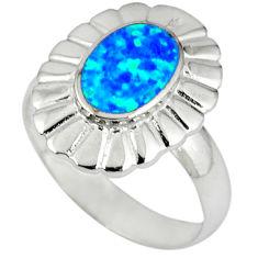 Blue australian opal (lab) enamel 925 silver ring jewelry size 7 a36577 c14943