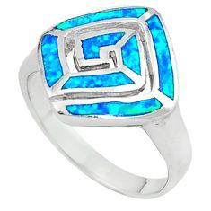 Blue australian opal (lab) enamel 925 silver ring jewelry size 8 c15779