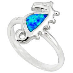Blue australian opal (lab) enamel 925 silver seahorse ring size 6 c15834
