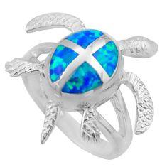 7.69gms blue australian opal (lab) enamel 925 silver tortoise ring size 8 c26241