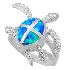 8.04gms blue australian opal (lab) enamel 925 silver tortoise ring size 8 c26242