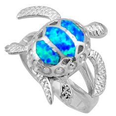 7.26gms blue australian opal (lab) enamel 925 silver tortoise ring size 8 c26245
