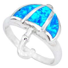 Blue australian opal (lab) enamel 925 silver umbrella ring size 7 c15747