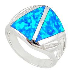 Blue australian opal (lab) enamel 925 sterling silver ring size 6 a73452 c24465