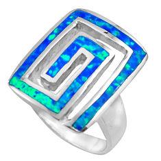 7.69gms blue australian opal (lab) enamel 925 sterling silver ring size 6 c26259