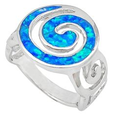 Blue australian opal (lab) enamel 925 sterling silver ring size 7 c15780