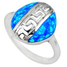 Blue australian opal (lab) enamel 925 sterling silver ring size 7 c15854