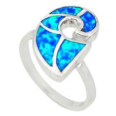 Blue australian opal (lab) enamel 925 sterling silver ring size 7 a73447 c24464