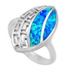 6.02gms blue australian opal (lab) enamel 925 sterling silver ring size 7 c26255