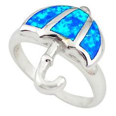 Blue australian opal (lab) enamel silver umbrella ring size 7.5 a72390 c24473