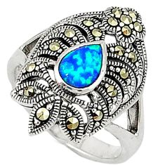 Blue australian opal (lab) marcasite 925 silver ring jewelry size 6.5 c17521