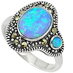 Blue australian opal (lab) marcasite 925 silver ring jewelry size 7.5 c17540