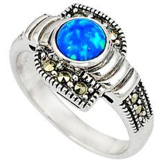 Blue australian opal (lab) marcasite 925 silver ring jewelry size 7.5 c17533