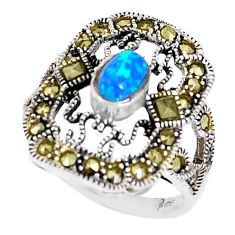 0.85cts blue australian opal (lab) marcasite 925 silver ring size 5.5 c20798