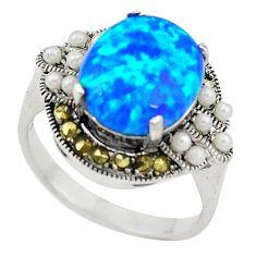 Blue australian opal (lab) marcasite 925 silver ring jewelry size 6.5 c21881
