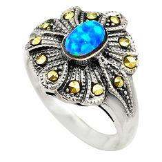 Blue australian opal (lab) marcasite 925 silver ring jewelry size 5.5 c21884