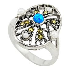 Blue australian opal (lab) marcasite 925 silver ring jewelry size 7.5 c21889
