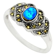 Blue australian opal (lab) marcasite 925 silver ring jewelry size 8.5 c21895
