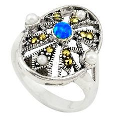 Blue australian opal (lab) marcasite 925 silver ring jewelry size 5.5 c21897