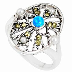 1.79cts blue australian opal (lab) marcasite 925 silver ring size 7 c22999