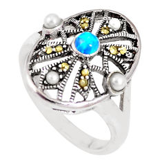 2.10cts blue australian opal (lab) marcasite 925 silver ring size 9 c22998