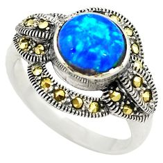 Blue australian opal (lab) marcasite 925 sterling silver ring size 6.5 c21891