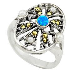 Blue australian opal (lab) marcasite pearl 925 silver ring size 6.5 c21883