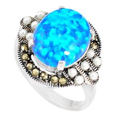 5.27cts blue australian opal (lab) marcasite silver ring size 5.5 a92846 c24430