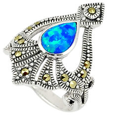 Blue australian opal (lab) marcasite 925 silver ring jewelry size 6 c17532