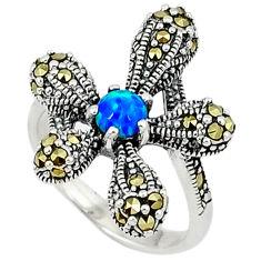 Blue australian opal (lab) marcasite 925 silver ring jewelry size 7 c17527