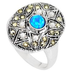 1.17cts blue australian opal (lab) marcasite silver ring size 5 a92848 c24492