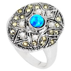 1.06cts blue australian opal (lab) marcasite silver ring size 6 a92854 c24484
