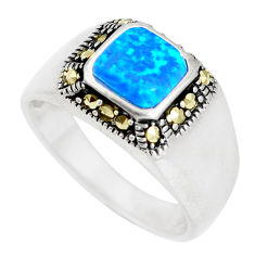 1.01cts blue australian opal (lab) marcasite silver ring size 7 a92850 c24486