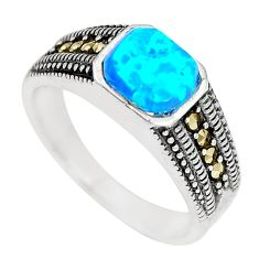 1.12cts blue australian opal (lab) marcasite silver ring size 7 a92857 c24489
