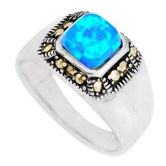 1.31cts blue australian opal (lab) marcasite silver ring size 7 a92858 c24438