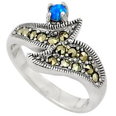 Blue australian opal (lab) marcasite 925 sterling silver ring size 6 c17526