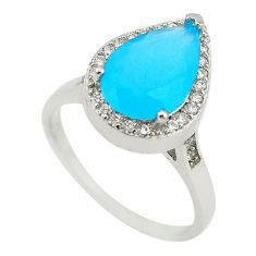 Blue australian opal (lab) pear topaz 925 sterling silver ring size 7 c22286