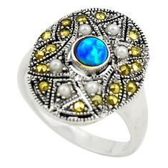 Blue australian opal (lab) round marcasite 925 silver ring size 6.5 c21886