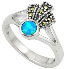 Blue australian opal (lab) round marcasite 925 silver ring size 6.5 c17465